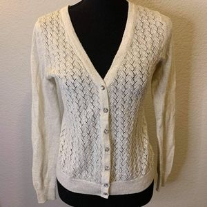 Merona cream cardigan with crystal buttons